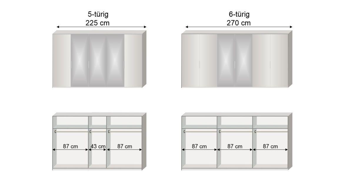 Grafik zur Inneneinteilung des 5-6-türigen Drehtüren-Kleiderschranks Esperia mit Spiegel