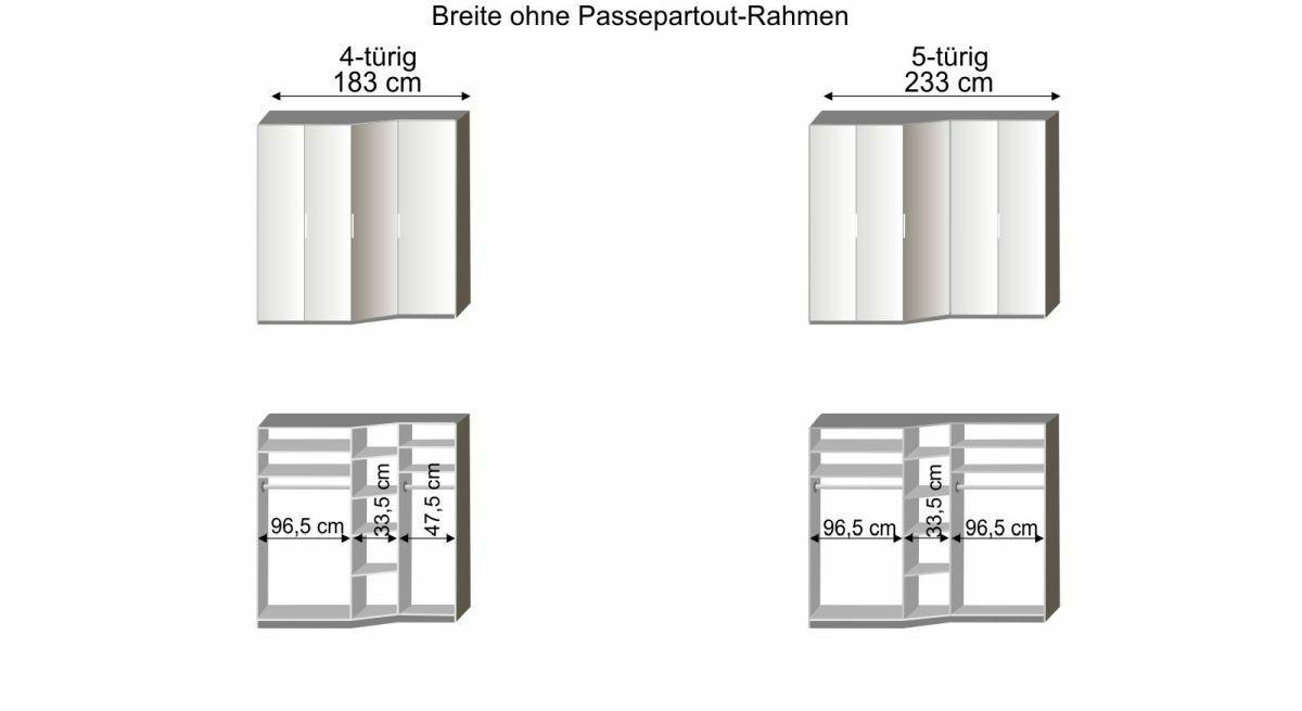 Grafik zur Innenausstattung des 4-5-türigen Drehtüren-Kleiderschranks Evansville
