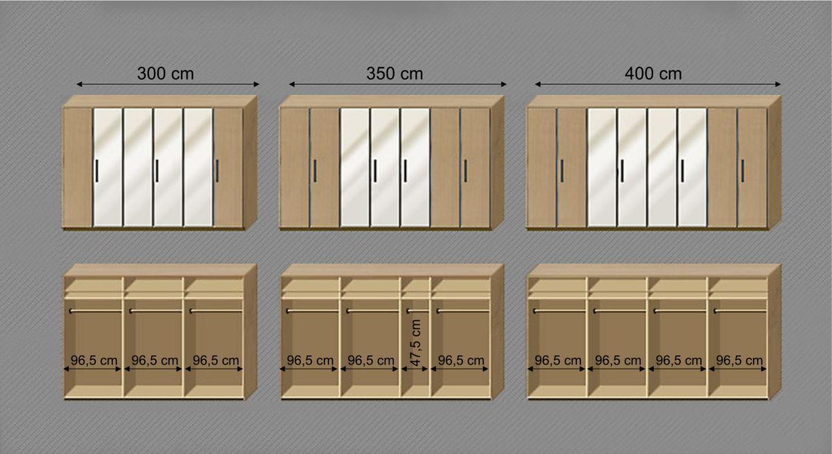 Grafik zur Ausstattung des Drehtüren-Kleiderschranks Catio