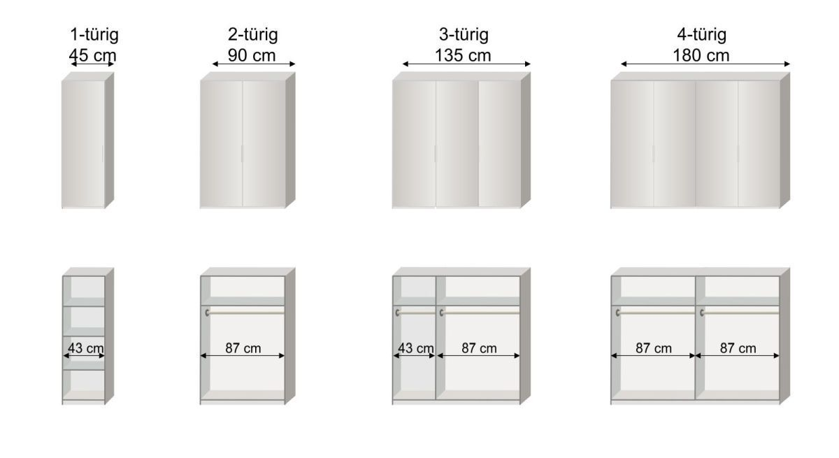 Grafik zur Inneneinteilung des 1-4-türigen Drehtüren-Kleiderschranks