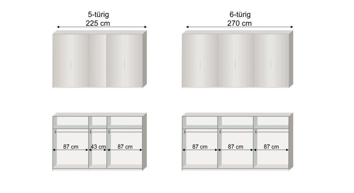 Grafik zur Inneneinteilung des 5-6-türigen Drehtüren-Kleiderschranks