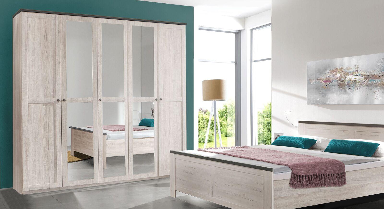 Drehtüren-Kleiderschrank Grom in Weißeiche Dekor mit Spiegeln