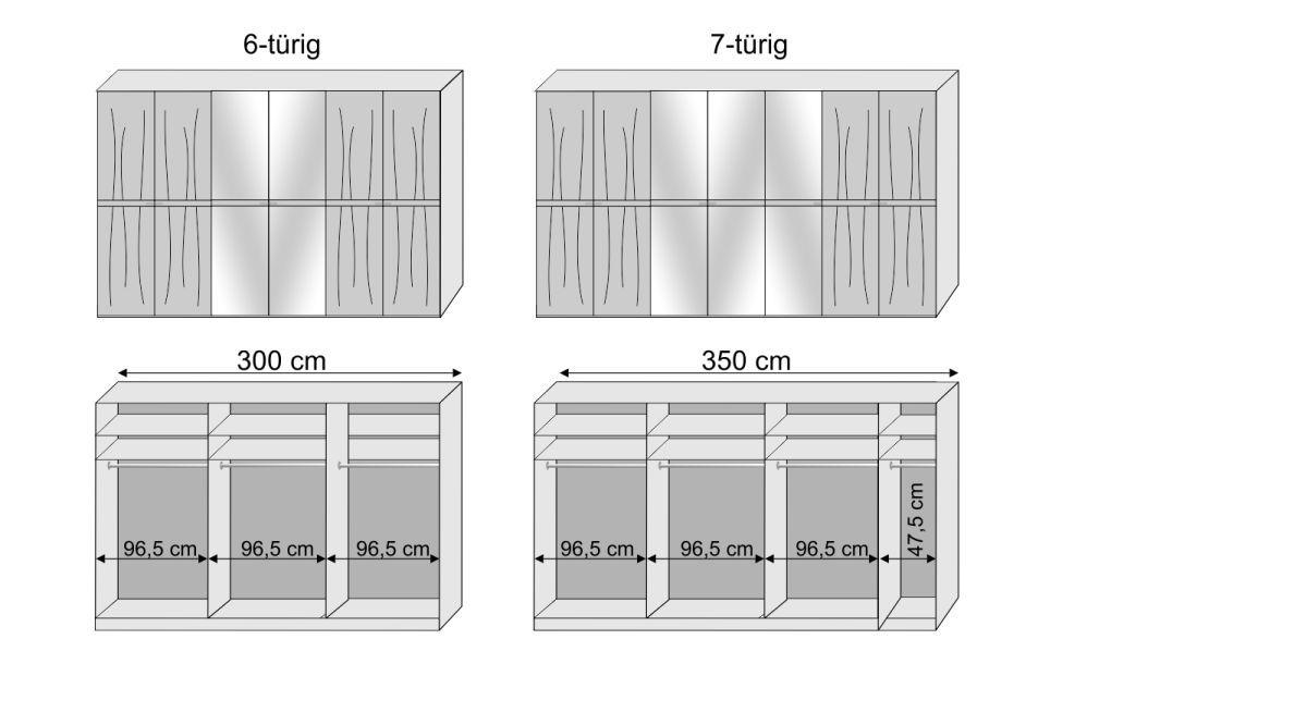 Inneneinteilung zum 6-7-türigen Drehtüren-Kleiderschrank Hazleton