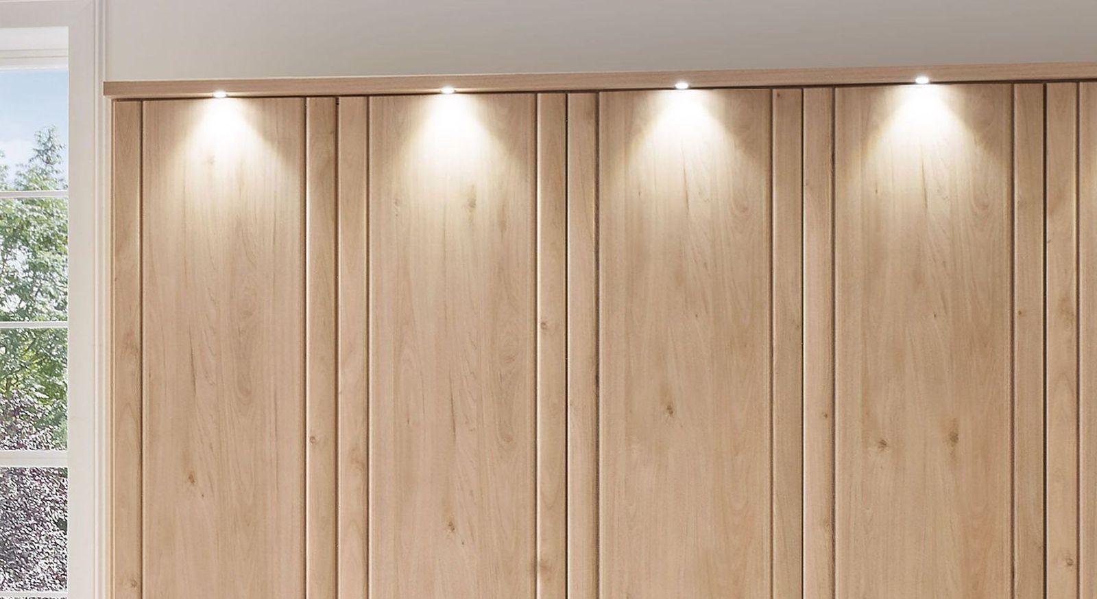 Drehtüren-Kleiderschrank Herdorf mit LED-Spot-Beleuchtung