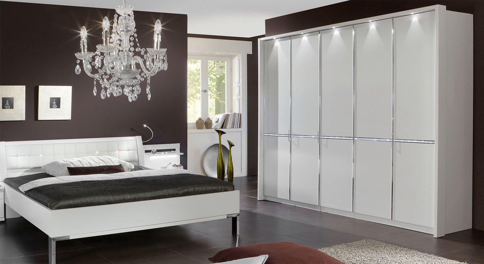 Drehtüren-Kleiderschrank Huddersfield mit Kristallstein-Zierleiste und Passepartout-Rahmen ohne Beleuchtung