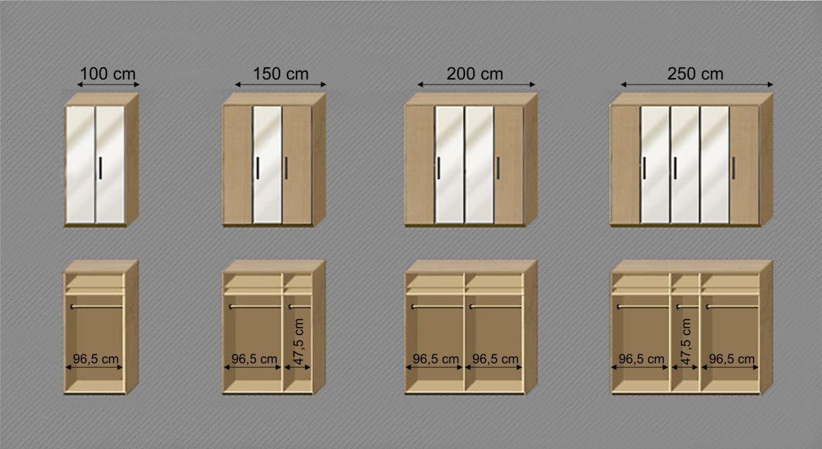 Maßgrafik zur Inneneinteilung des Drehtüren-Kleiderschranks Catio
