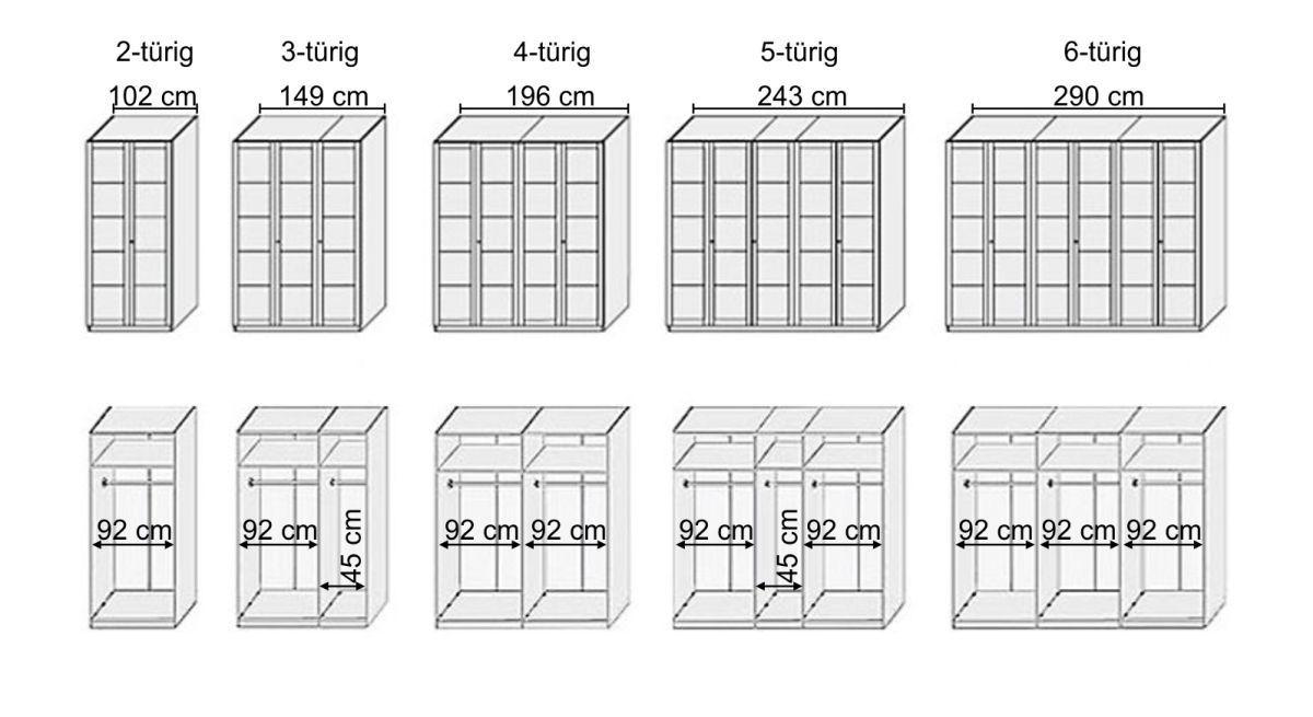 Grafik zur Inneneinteilung vom Drehtüren-Kleiderschrank Kiran