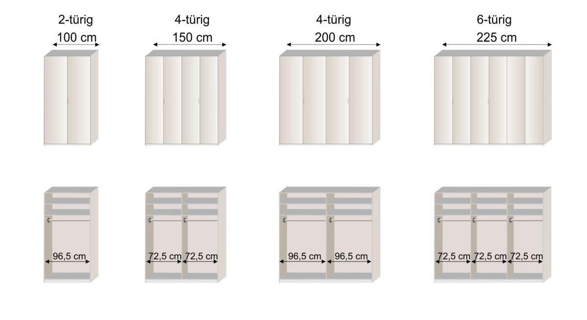 Grafik zur Innenausstattung des Drehtüren-Kleiderschranks Livingston in den Breiten 100 - 225 cm
