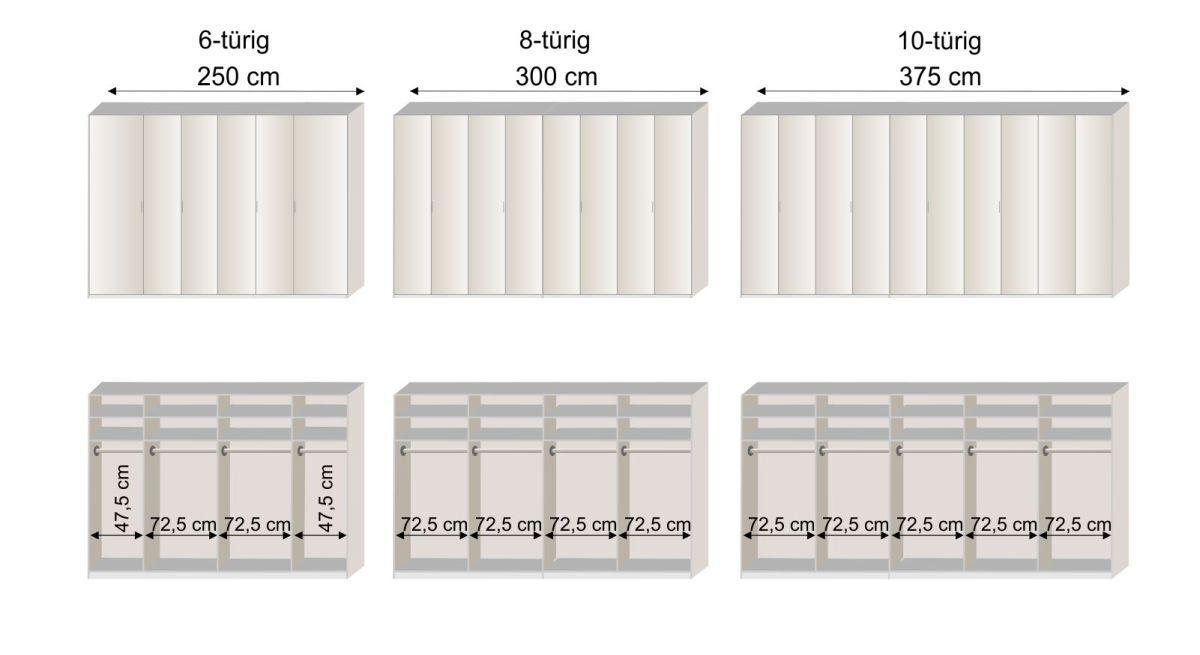 Grafik zur Innenausstattung des Drehtüren-Kleiderschranks Livingston in den Breiten 250 - 375 cm