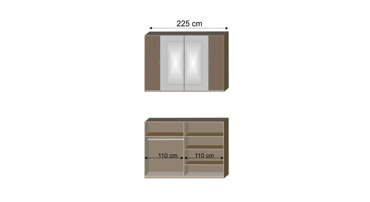 Bemaßungs-Grafik zur Inneneinteilung des Drehtüren-KLeiderschranks Mandola