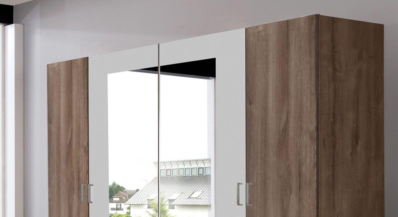 Drehtüren-Kleiderschrank Mandola mit großen Spiegeln