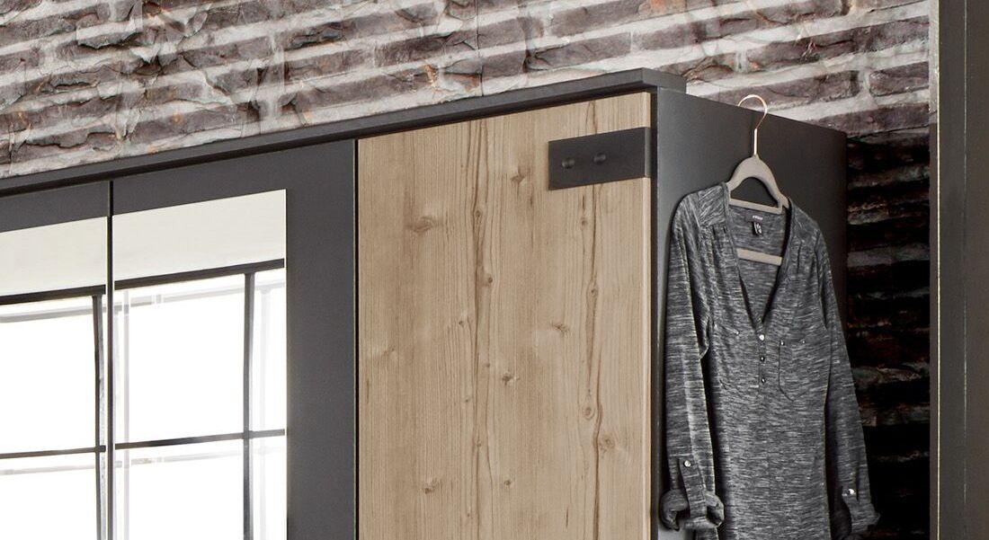 Drehtüren-Kleiderschrank Midori mit Außentüren in Weißtanne-Dekor