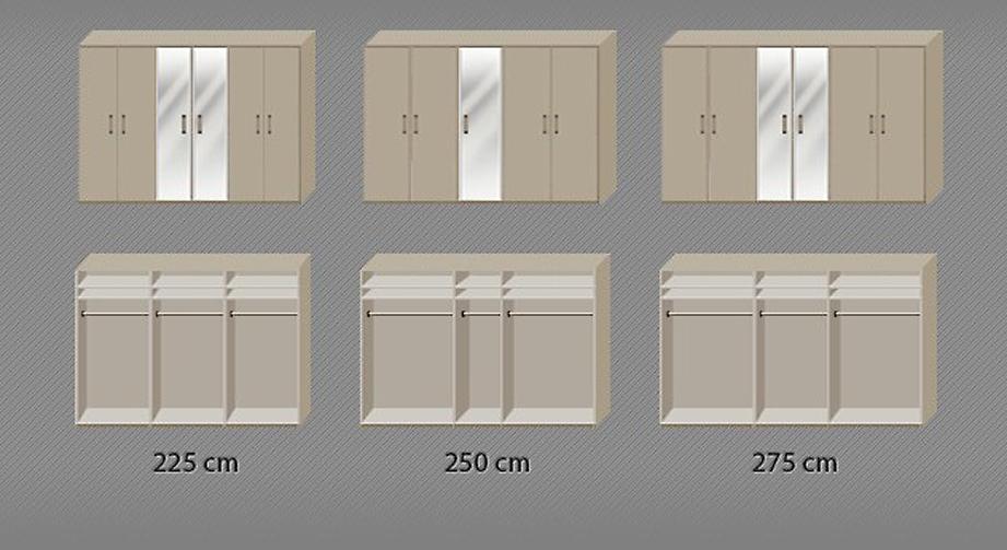 Drehtüren-Kleiderschrank Montego mit Innenansicht der Einlegeböden und Kleiderstange
