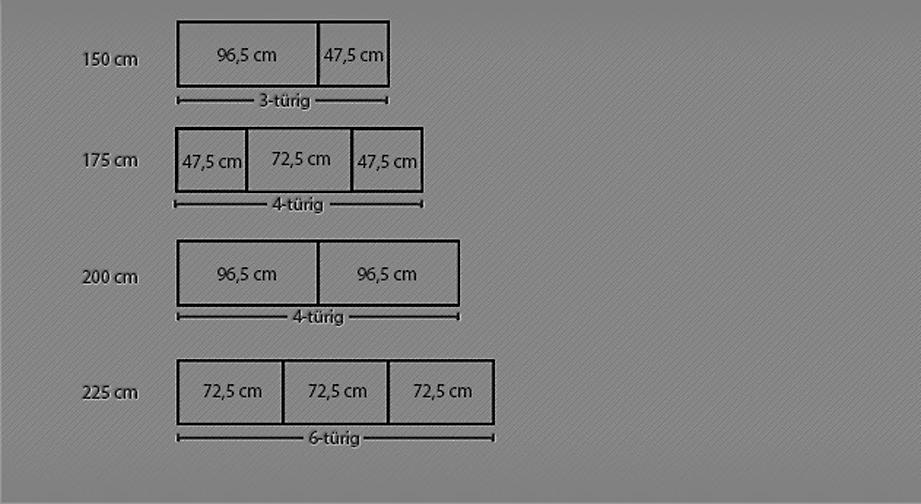 Maßgrafik zum Drehtüren-Kleiderschrank Montego ab 150 cm Breite