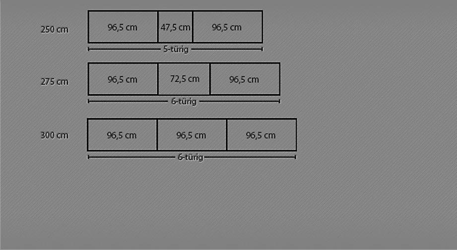 Maßgrafik zum Drehtüren-Kleiderschrank Montego ab 250 cm Breite