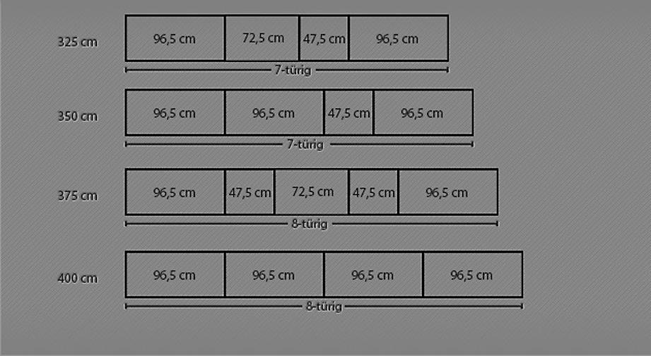 Maßgrafik zum Drehtüren-Kleiderschrank Montego ab 325 cm Breite