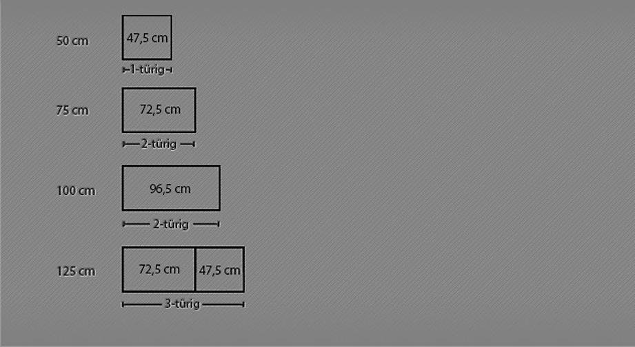 Maßgrafik zum Drehtüren-Kleiderschrank Montego ab 50 cm Breite