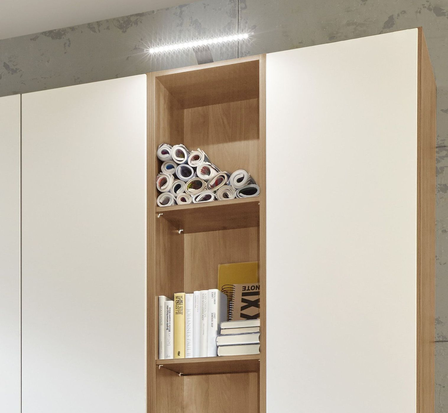 wei er kleiderschrank mit offenem regal in eiche dekor morolo. Black Bedroom Furniture Sets. Home Design Ideas
