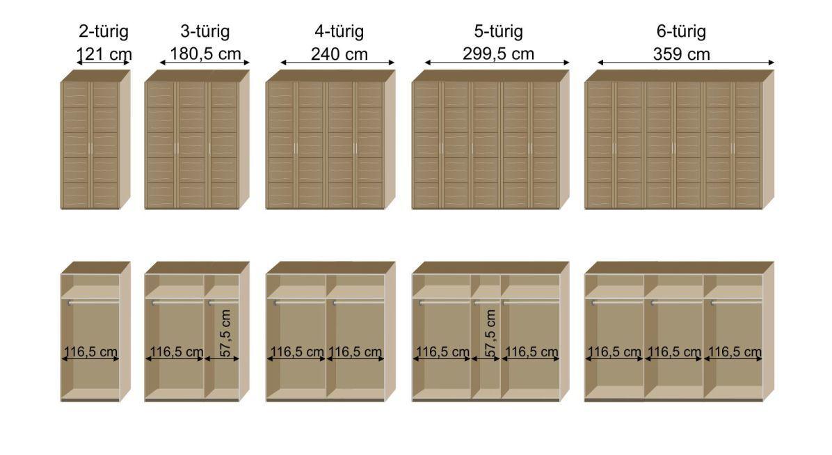 Grafik zur Inneneinteilung des Drehtüren-Kleiderschranks Nino