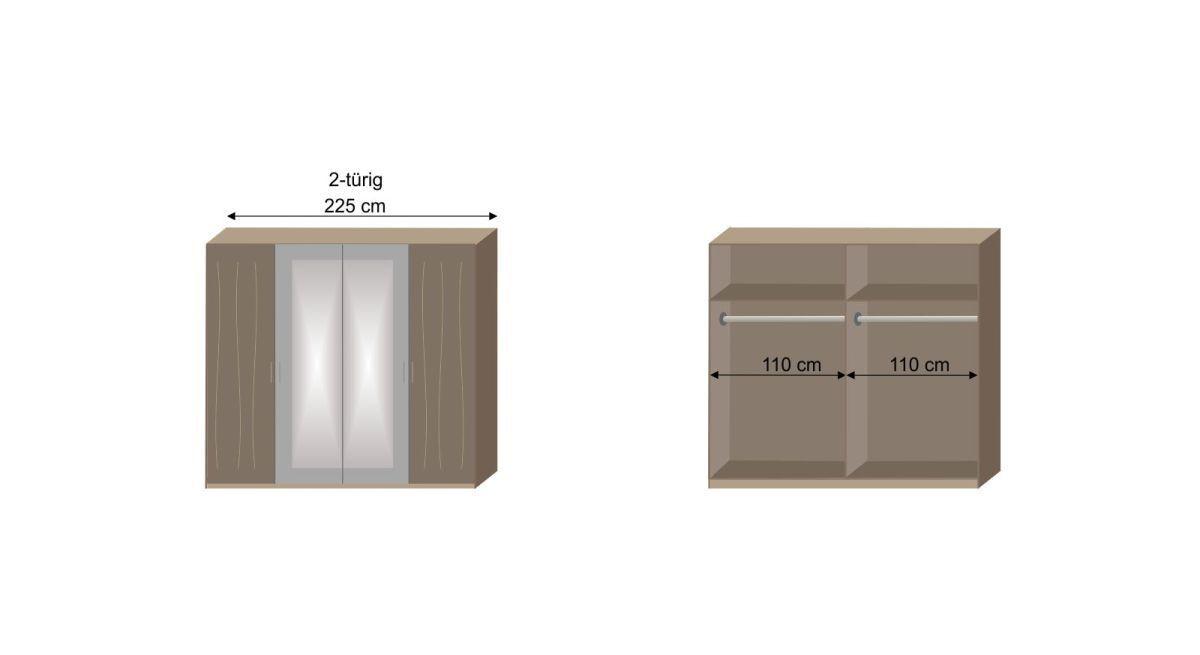 Bemaßungs-Skizze zur Inneneinteilung des Drehtüren-Kleiderschrank Ovatio