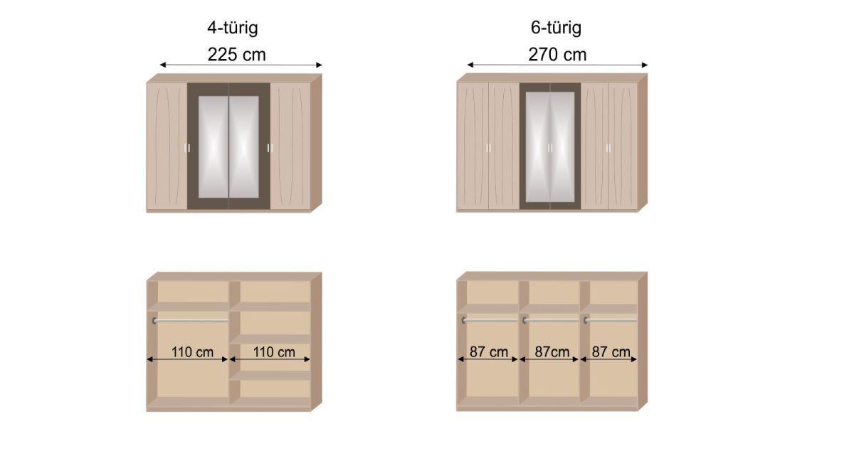 Grafik zur Inneneinteilung des Drehtüren-Kleiderschranks Pahoa