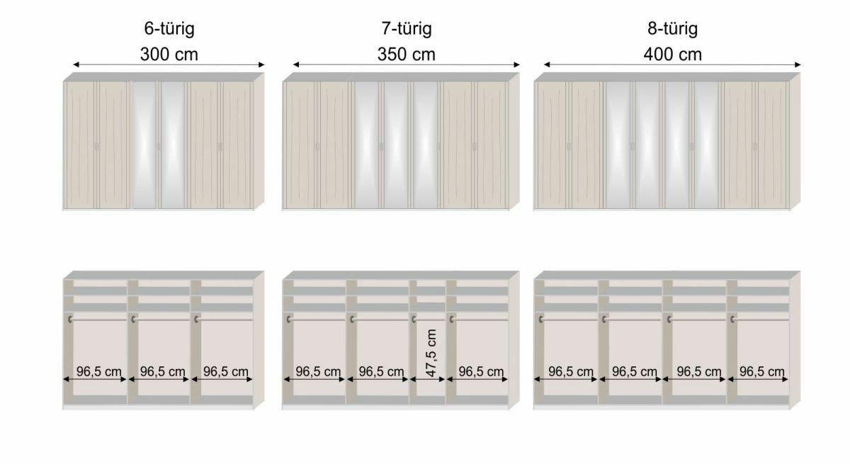 Grafik zur Innenausstattung der 6 bis 8-türigen Drehtüren-Kleiderschränke Pegau