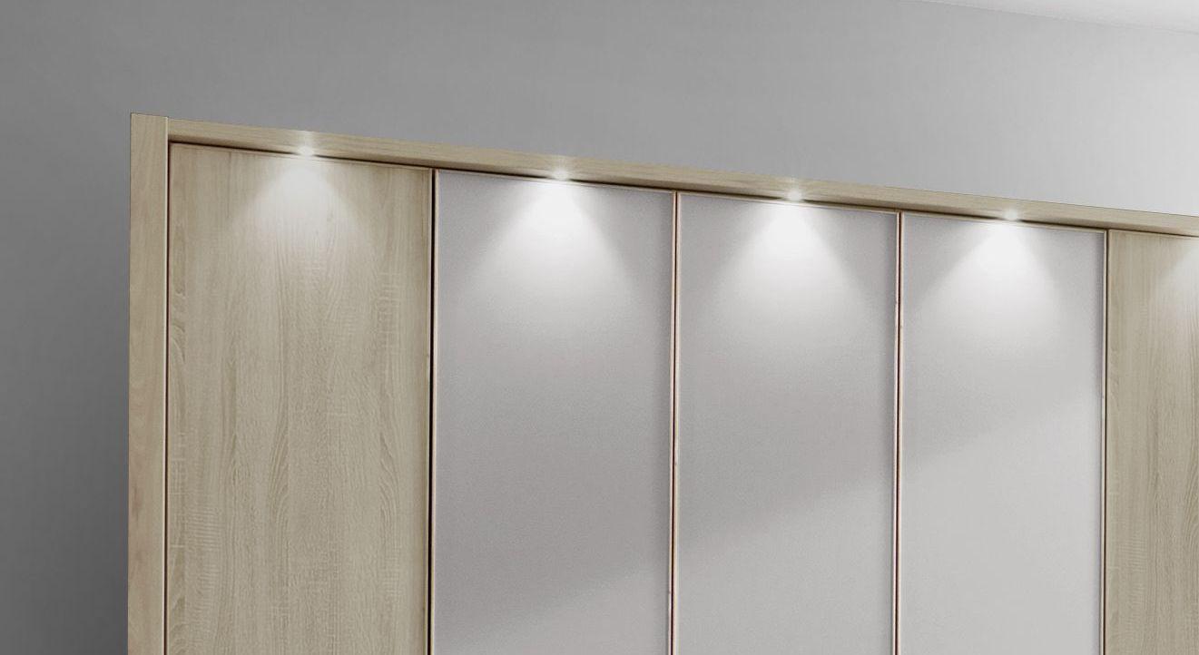 Drehtüren-Kleiderschrank Pelham mit LED-Beleuchtung