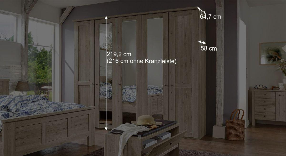 Maßangaben zum Drehtüren-Kleiderschrank Catio mit Spiegelfront