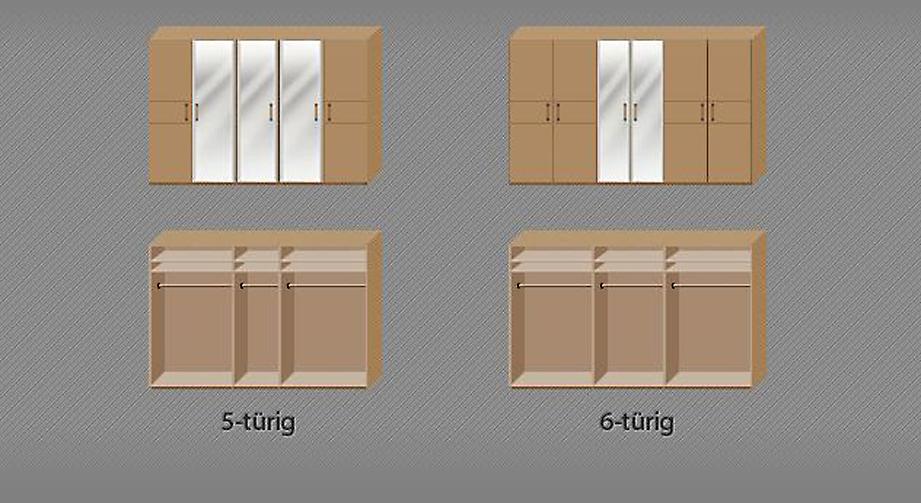 Drehtüren-Kleiderschrank Temara mit Kleiderstange und Einlegeböden