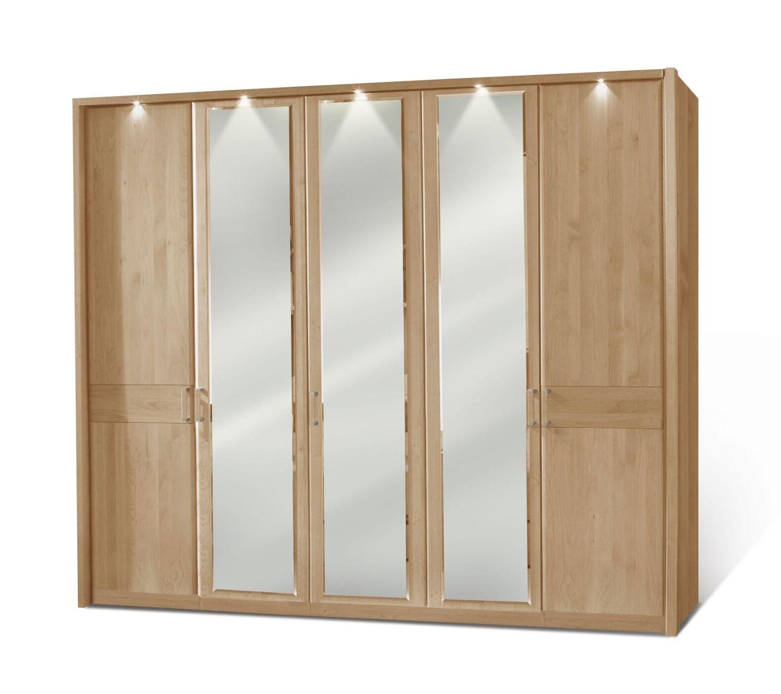 Schlafzimmerschrank mit Massivholz- und Spiegeltüren - Temara