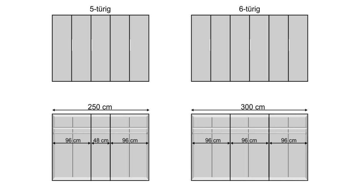 Drehtüren-Kleiderschrank Tramonti mit Bemaßungs-Grafik