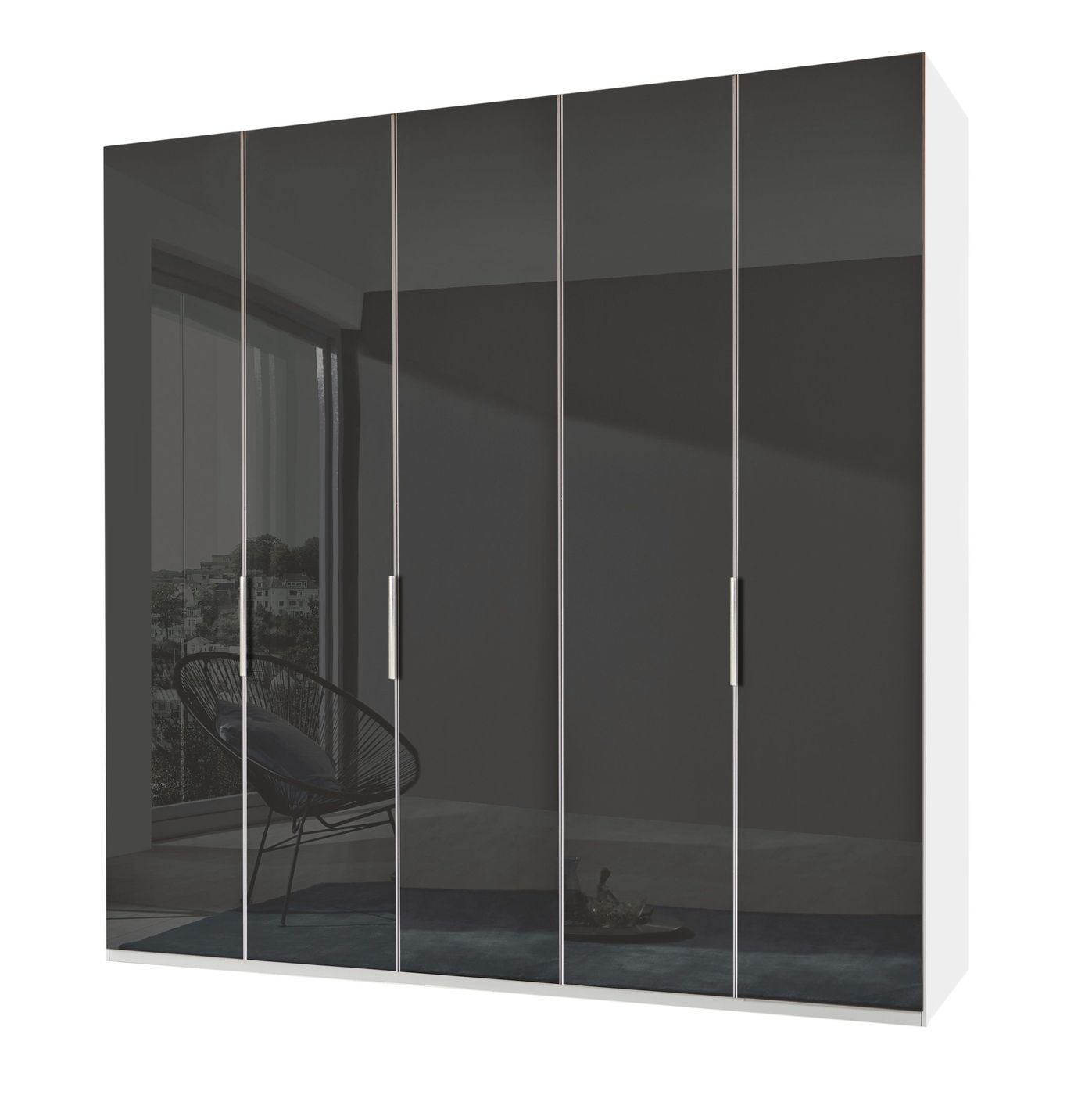 kleiderschrank mit glasfront in grau 2 bis 6 t ren tramonti. Black Bedroom Furniture Sets. Home Design Ideas
