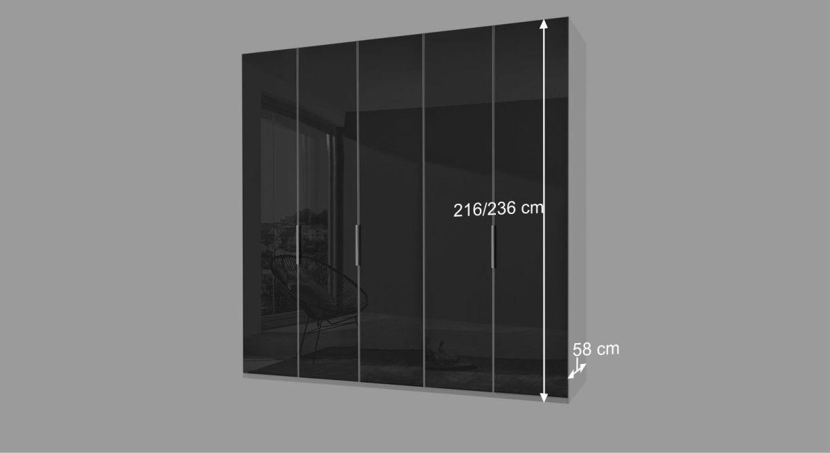Moderner Drehtüren-Kleiderschrank Tramonti mit Glasfront und Seitenstollen