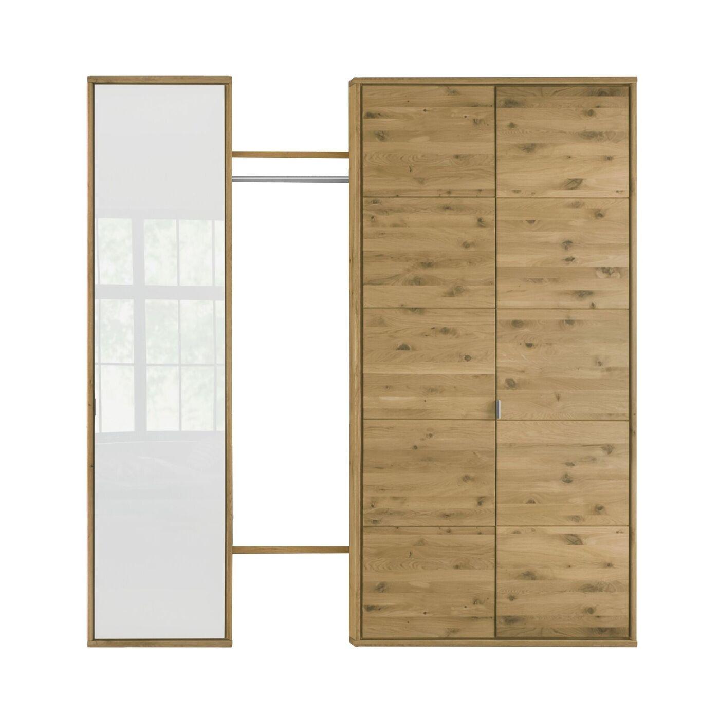 Massivholz-Schrank mit offenem Fach und edlem Weißglas - Vacallo