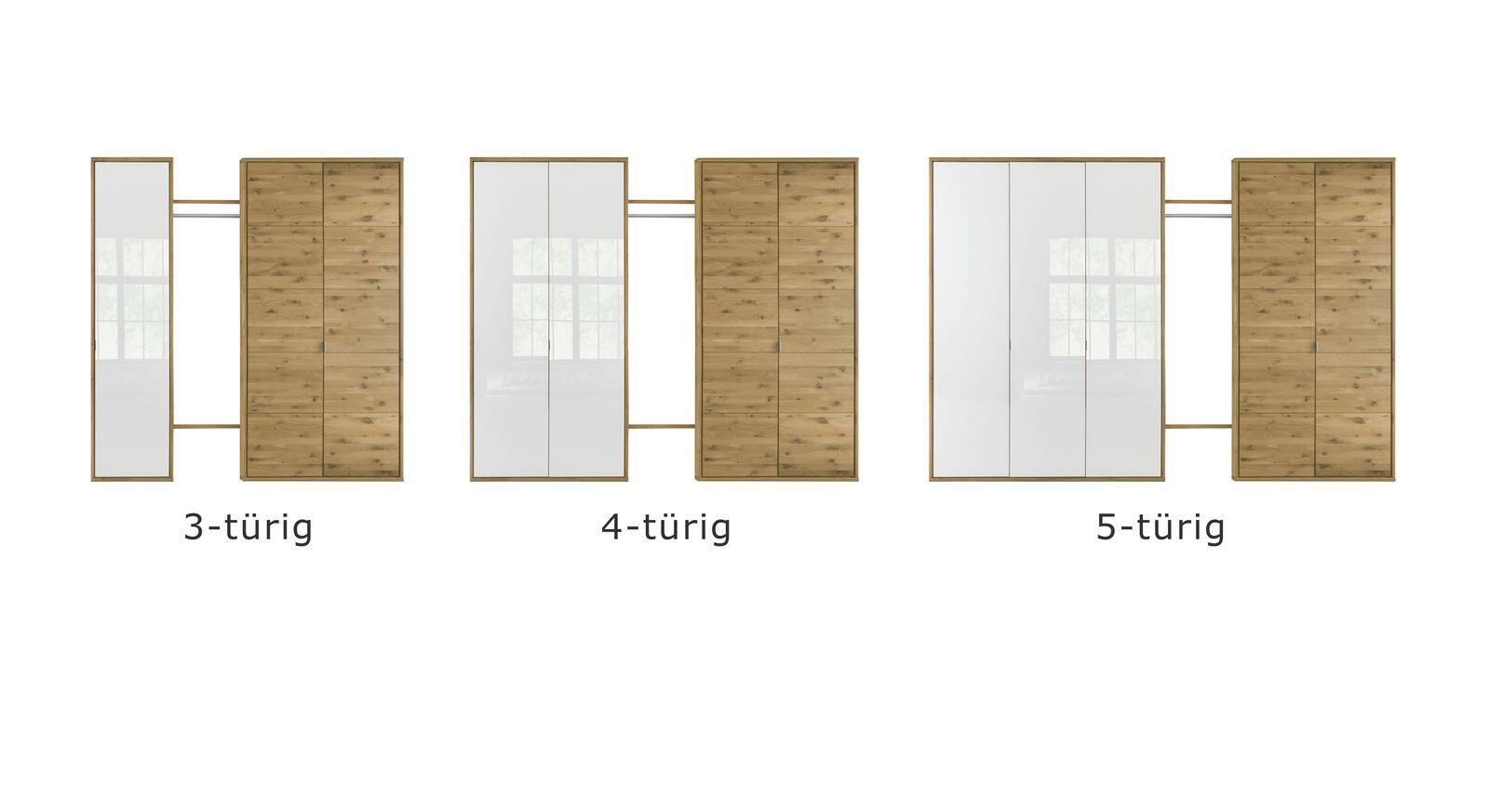 Verschiedene Varianten vom Drehtüren-Kleiderschrank Vacallo