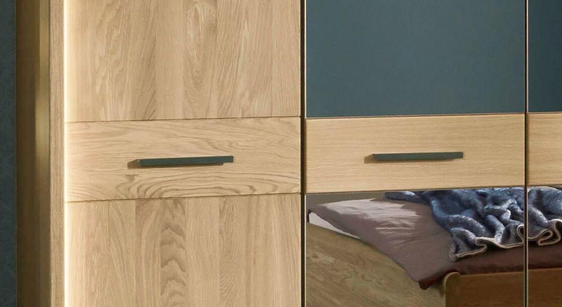 Drehtüren-Kleiderschrank Vitoria mit Querriegeln und Spiegelfront