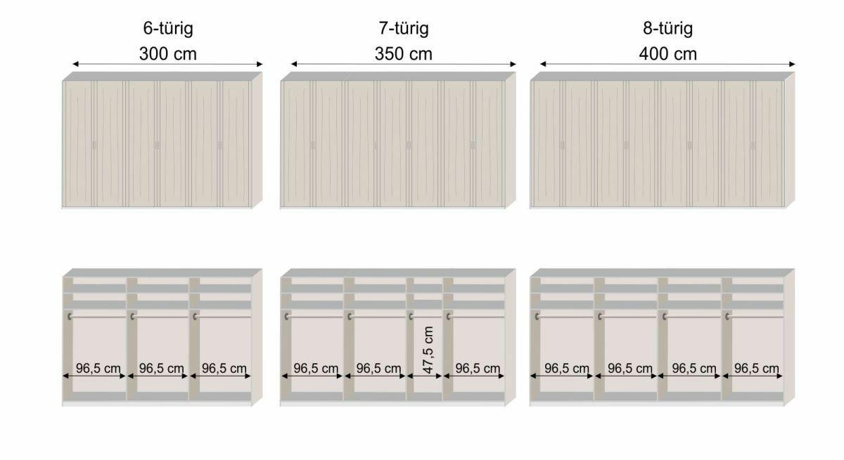 Grafik zur Innenausstattung des 6-8-türigen Drehtüren-Kleiderschranks Zeven