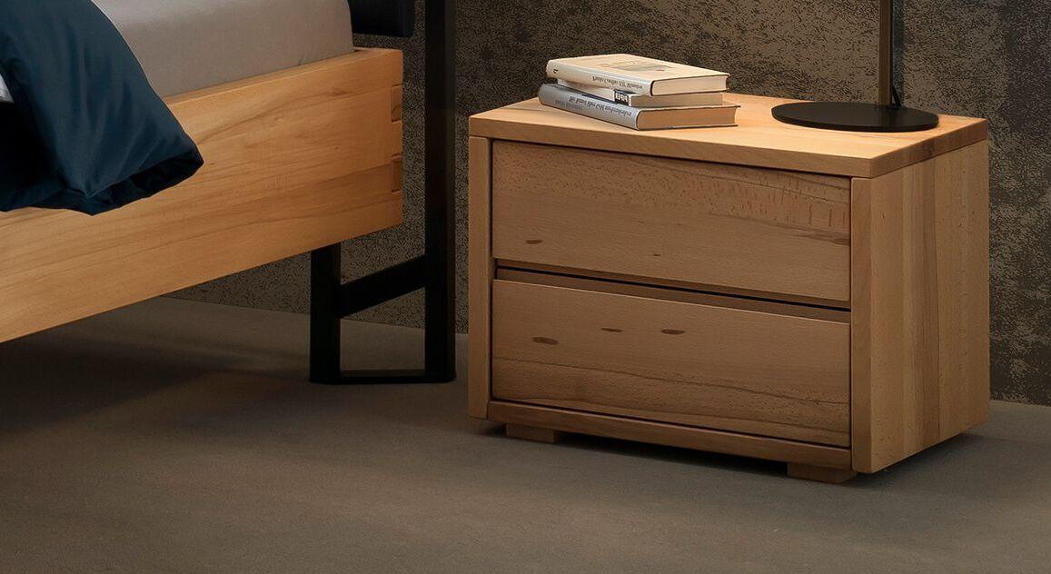 Echtholz-Nachttisch Joris mit Schubladen