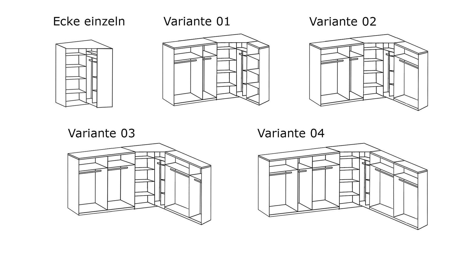 Grafik zur Inneneinteilung des Eck-Kleiderschranks Alvito