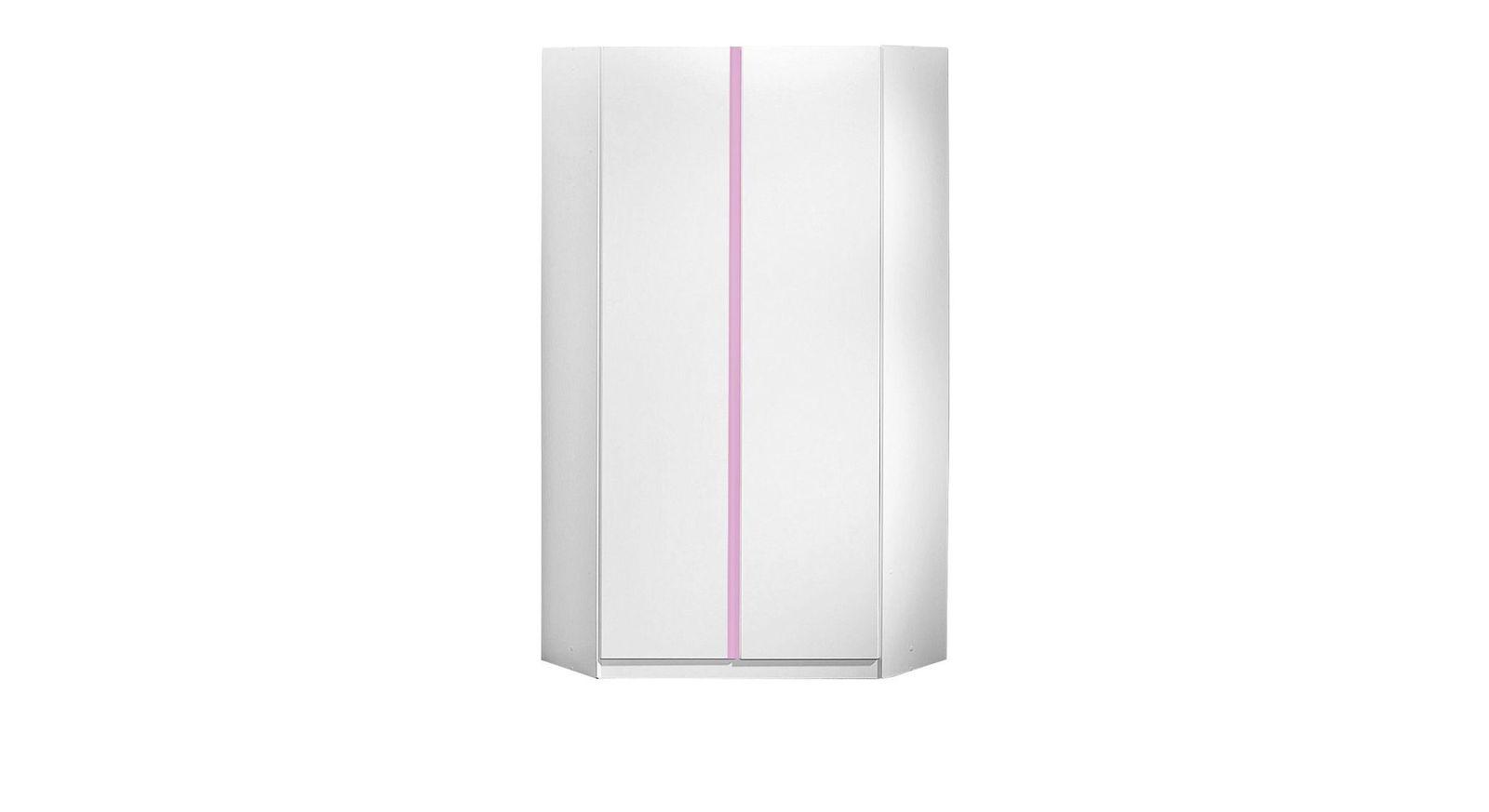 Eck-Kleiderschrank Armilla mit rosafarbener Zierleiste