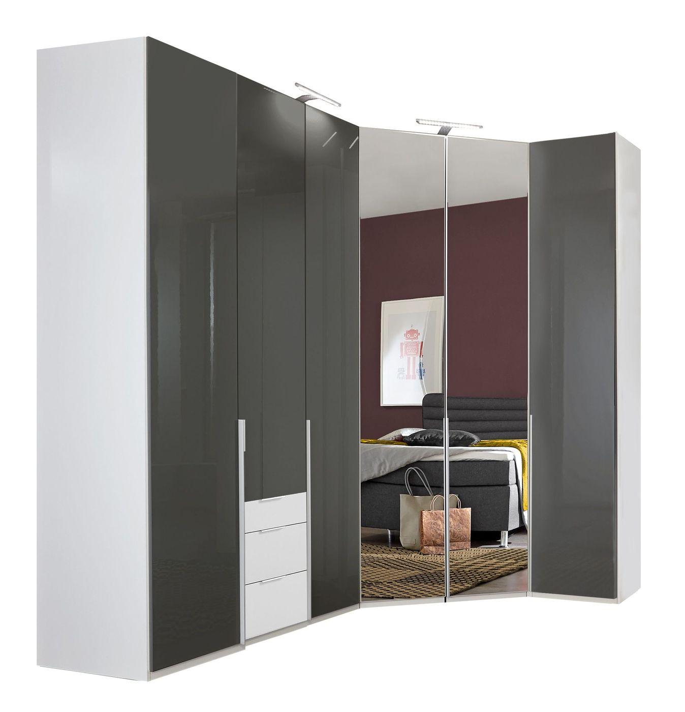 eck kleiderschrank zweifarbig mit glas spiegelt ren. Black Bedroom Furniture Sets. Home Design Ideas