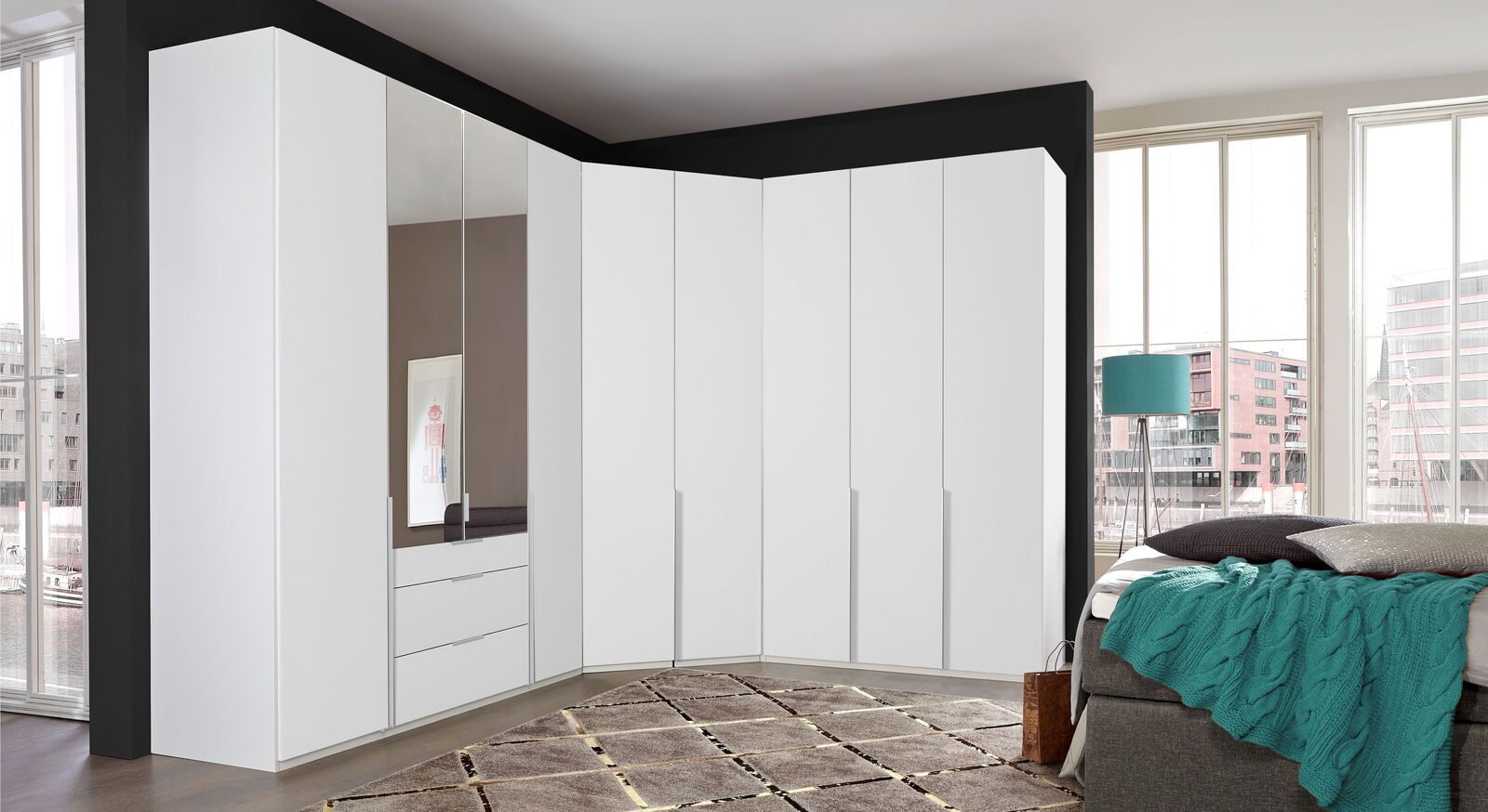 eck kleiderschrank mit individuell stellbaren elementen. Black Bedroom Furniture Sets. Home Design Ideas