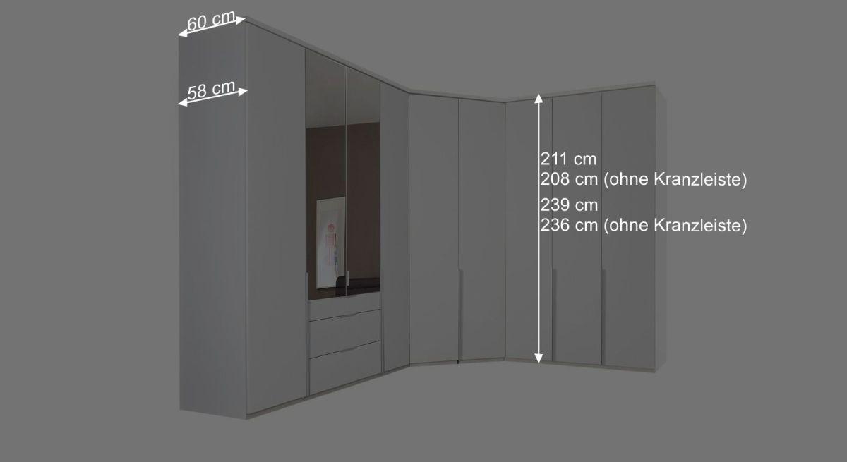 Grafik der Maße vom Eck-Kleiderschrank Ceprano