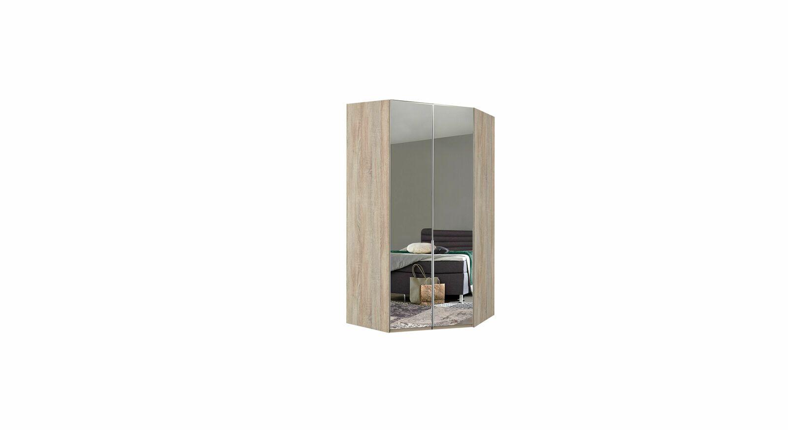 Eck-Kleiderschrank Coreno mit vollflächiger Spiegelfront