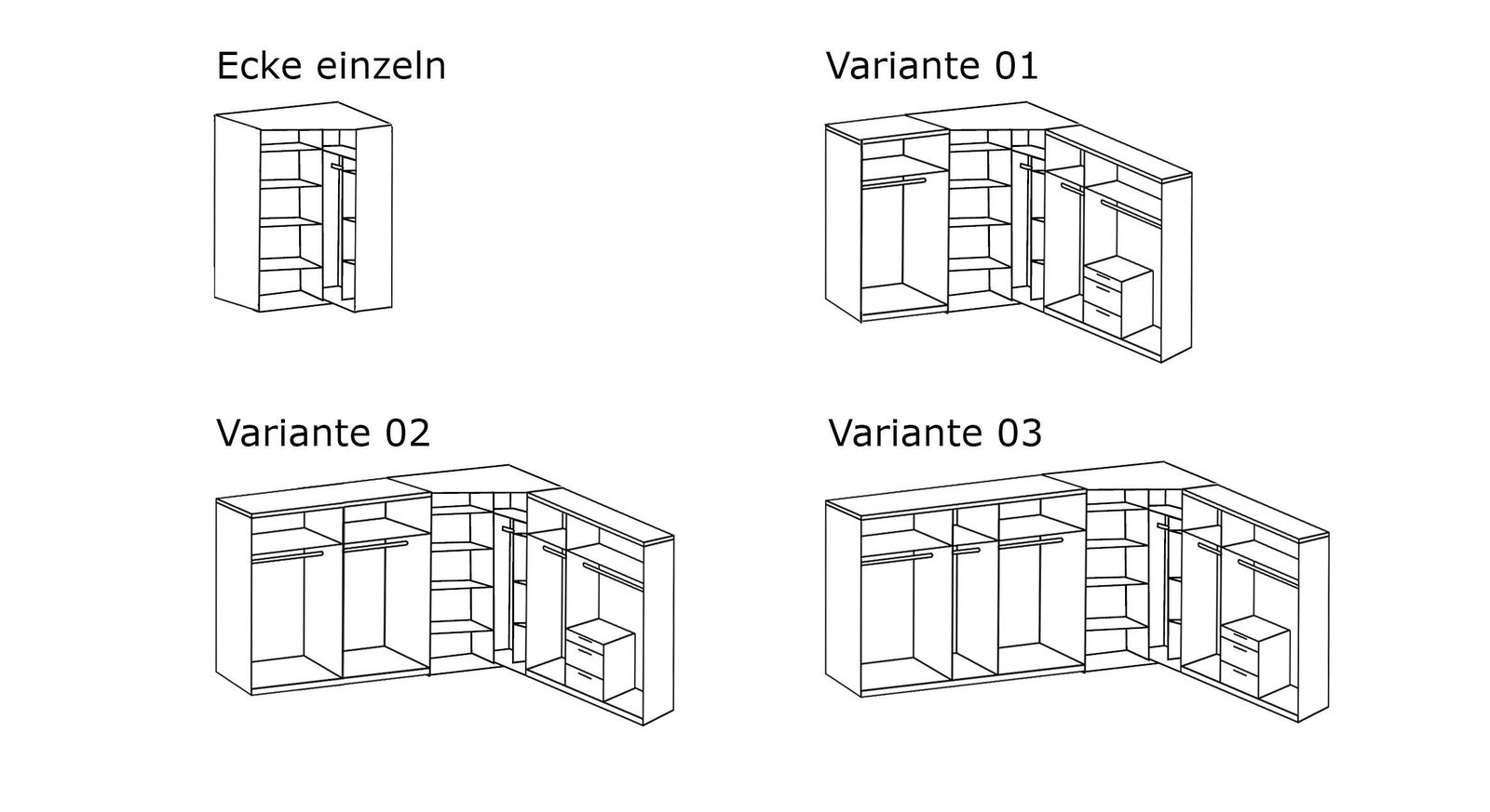 Eck-Kleiderschrank Esperias Varianten-Übersicht