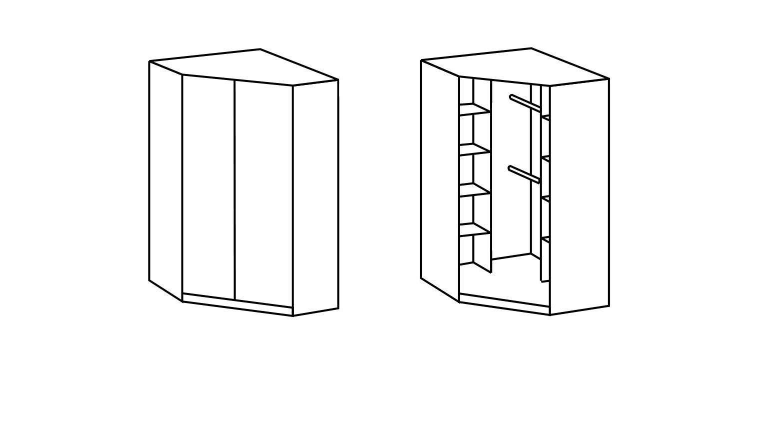 Übersichtliche Grafik zur Inneneinteilung des Eck-Kleiderschranks
