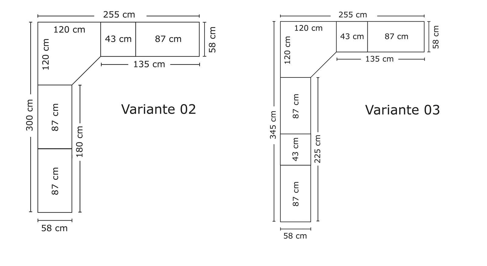 Grafik zu den Maßen des Eck-Kleiderschranks Esperia