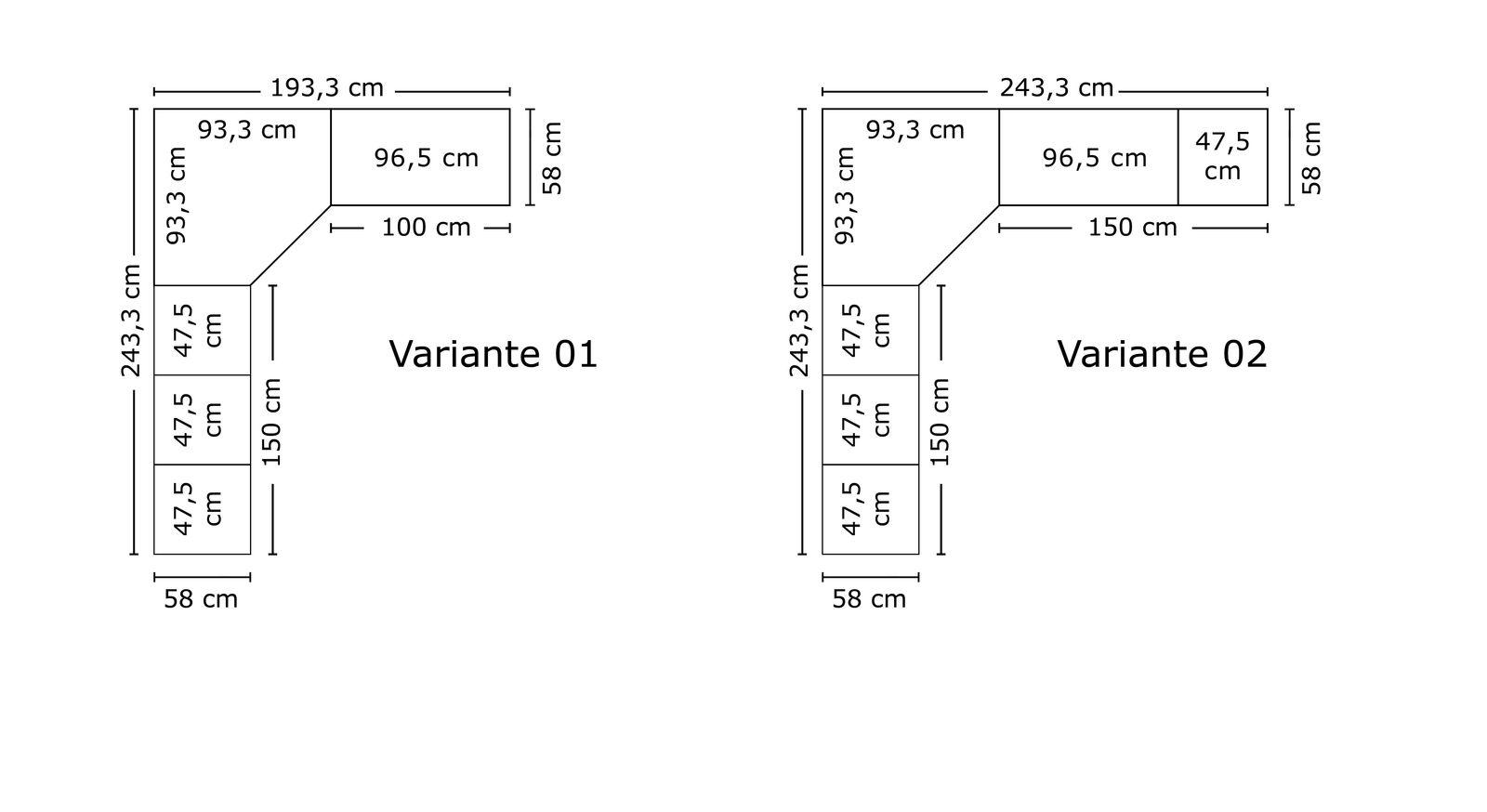 Grafik der Breitenverhältnisse vom Eck-Kleiderschrank Karia