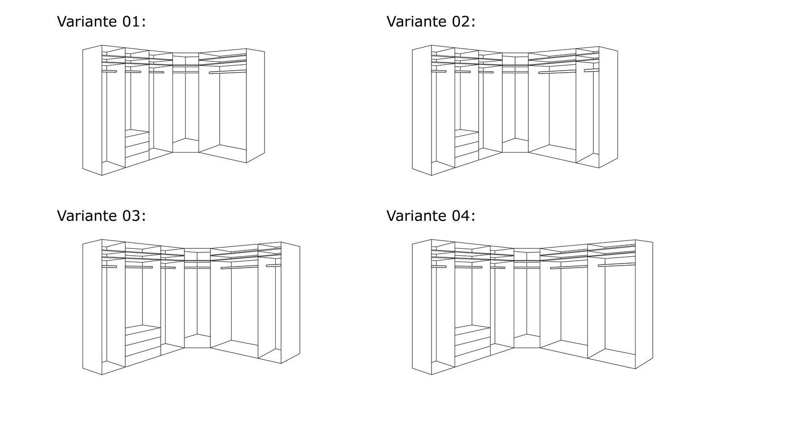 Grafik der Inneneinteilung vom Eck-Kleiderschrank Karia