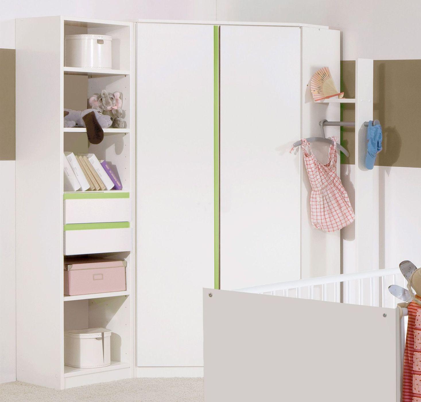 Weißer Eck-Kleiderschrank für Jungenzimmer - Los Pinos